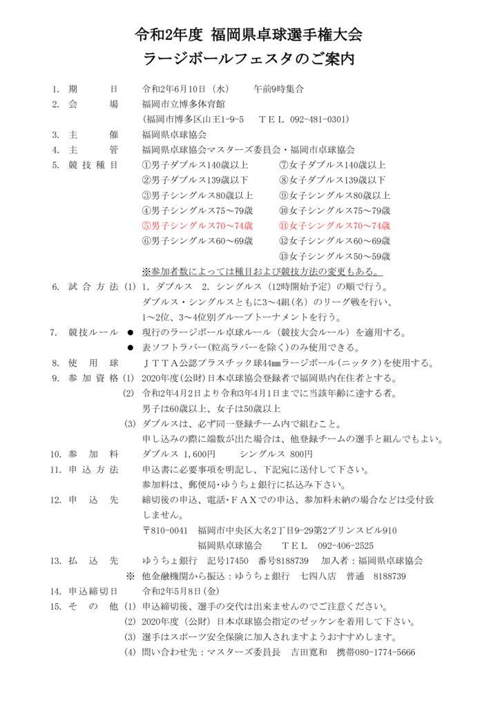 令和2年福岡県卓球選手権・ラージボールフェスタ6.10のサムネイル